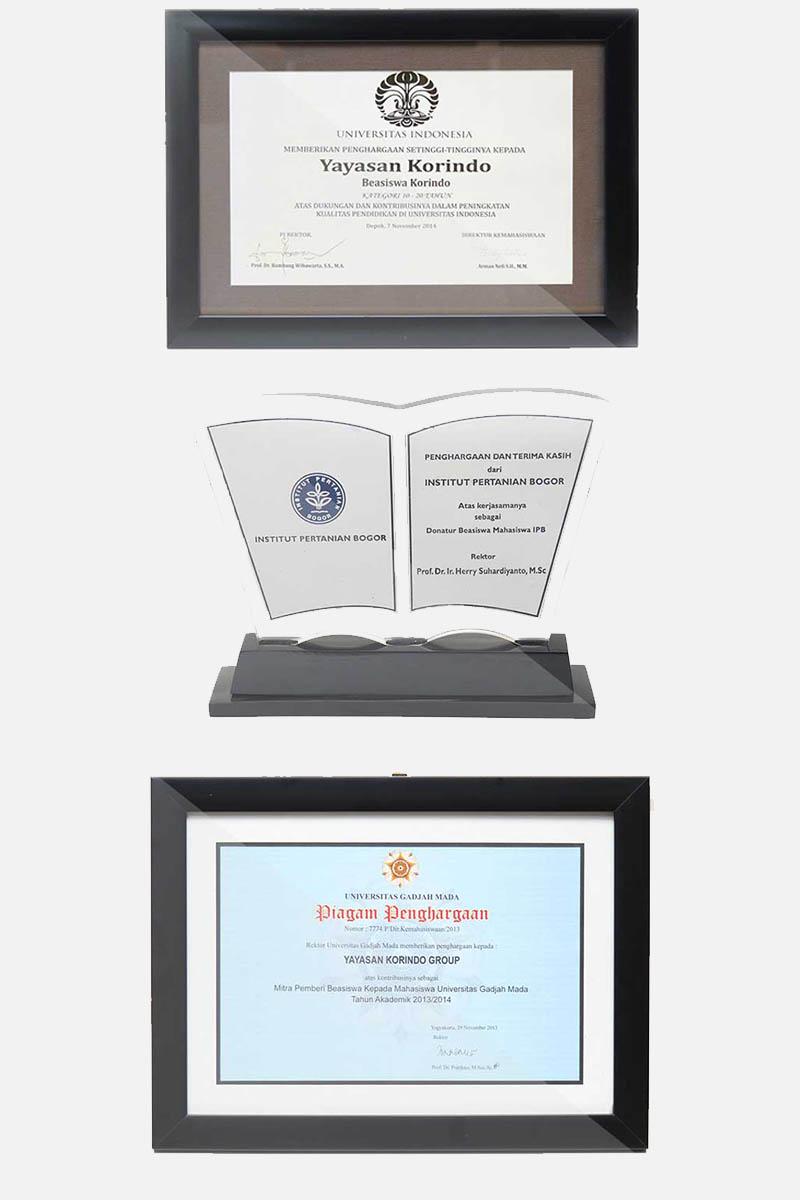 Penghargaan kepada KORINDO sebagai donatur dalam beasiswa pendidikan tinggi di beberpan perguruan tinggi